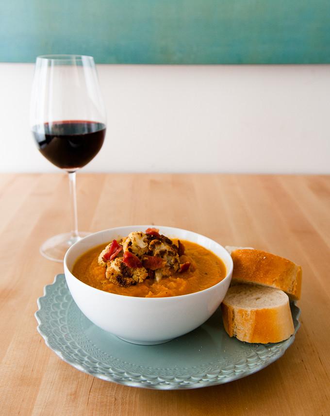 Sweet Potato & Fuji Apple Soup with Roasted Cauliflower & Bacon // Oakhurst Kitchen