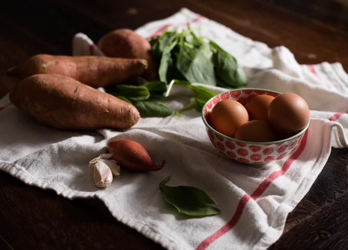 Sweet Potato Crusted Spinach Quiche // OakhurstKitchen.com