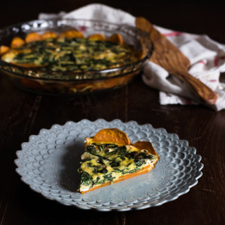 Sweet Potato Crusted Spinach Quiche // OakhurstKitchen.com