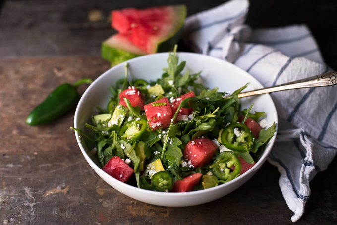 Watermelon Salad With Jalapeno and Avocado // OakhurstKitchen.com