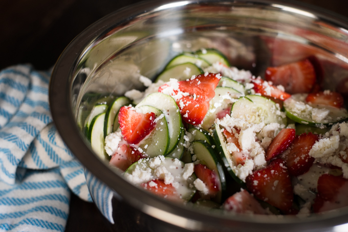 Cucumber Strawberry Summer Salad // OakhurstKitchen.com